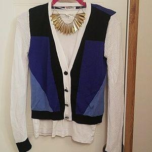 Color blocking/sporty cardigan